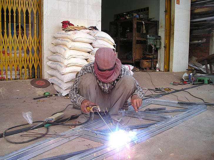 Камбоджа, заварчик, заварка, работа, светлина, светкавица, югоизток