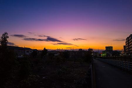 staden, Dawn, skymning, Utomhus, siluett, Sky, soluppgång