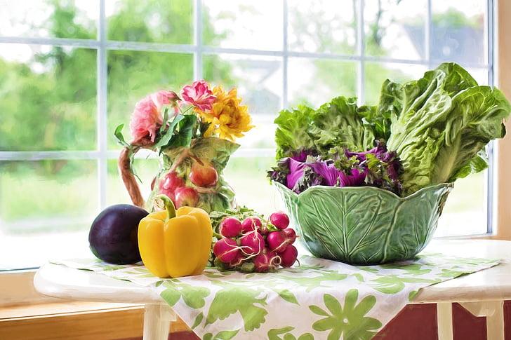 dārzeņi, svaigu, veggies, pārtika, veselīgi, zaļa, fiziska