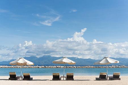 cadires de platja, para-sols, platja, sorra, l'estiu, vacances, Parasol