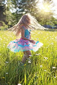 dance, little girl, twirling, twirl, ballerina, childhood, happy