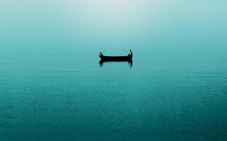 boat, fisherman, fishing, ocean, people, sea, silhouette