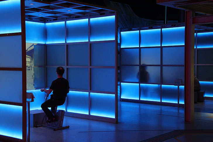 blå rummet, blå, blått ljus