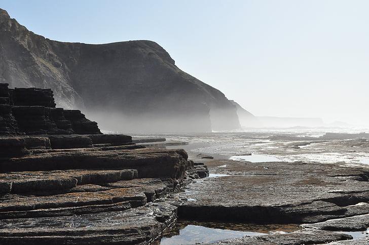 spray, sziklák, óceán, sziklás part, Atlanti-óceán partján, víz, Surf