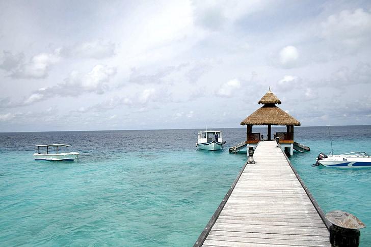 Beach resort, Pier, Ocean, tropiikissa, Baa-atolli, Sea, merimaisema