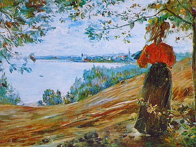pintura d'oli, dona, zoppot, Roca, barret, pintura