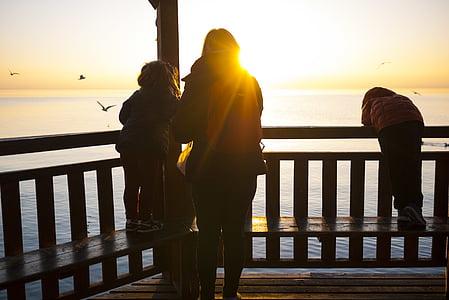fåglar, Dawn, skymning, Flicka, Ocean, personer, Pier