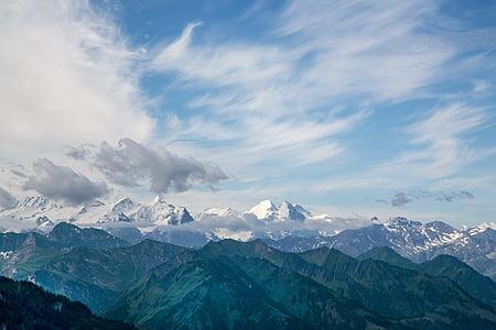gore, pogled, Alpski, narave, Švica, Švicarskih Alp, pokrajine