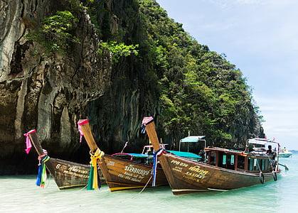 taulell de illa de phi Phi, Phuket, barques de colors, Tailàndia, Mar, l'aigua, Turisme
