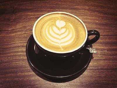 seni, kafein, cappuccino, Close-up, kopi, krim, Piala
