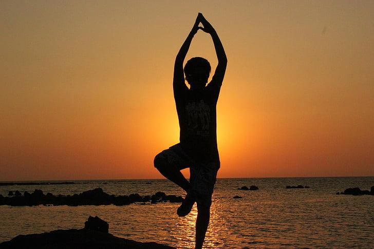 tập yoga, người, cân bằng, thiền định, hành thiền, Silhouette, nhảy múa