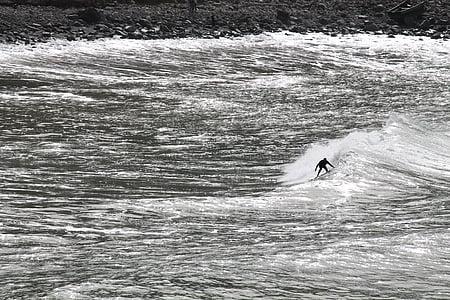 monochrome, surfer, sport, dynamics, water, atlantic, wave