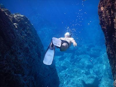 home, Submarinisme, Mar, oceà, l'aigua, l'aigua de mar, bussejador