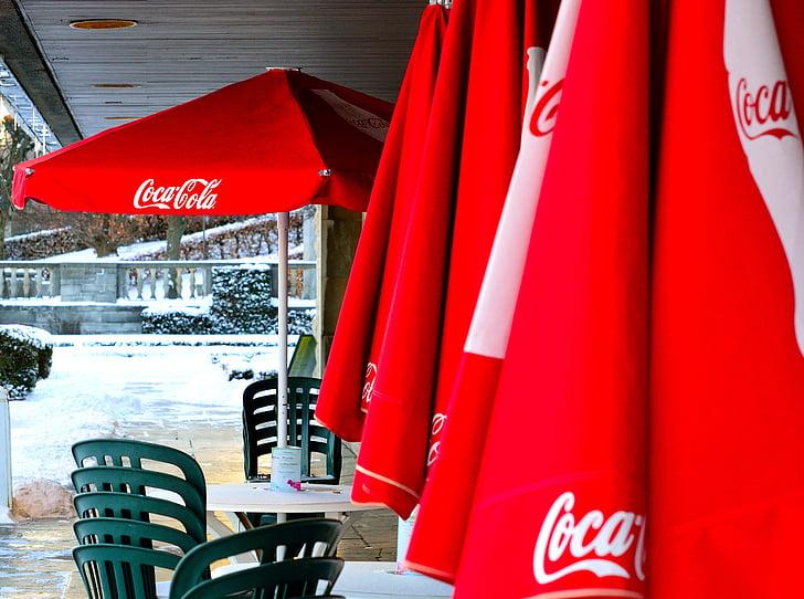 coca cola, coke, sunshades, parasols, advertising, umbrellas, terrace