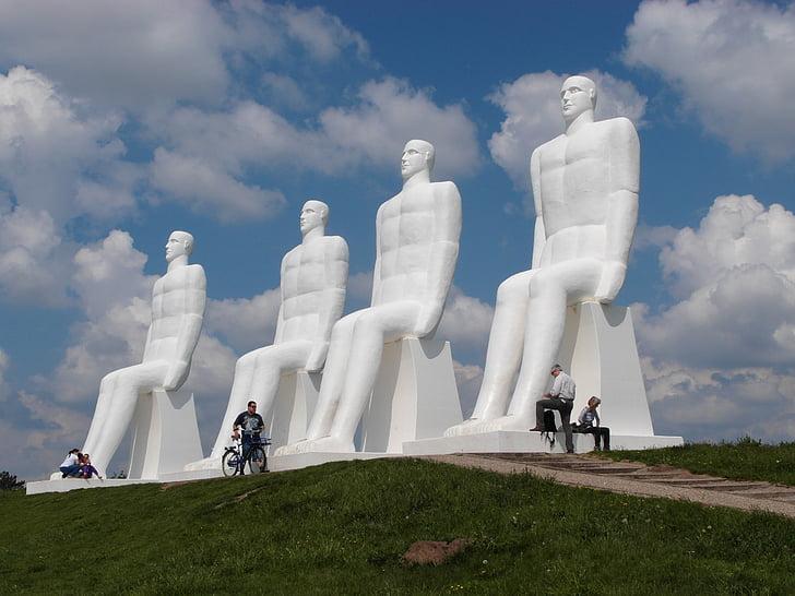 esbjerg, denmark, sea, statues, 4 men, bicycle