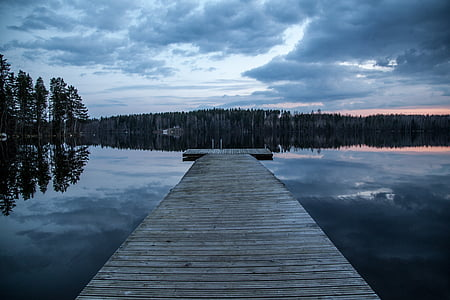 dock, lake, finland, dark, evening, water, nature