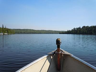 fishing, boat, lake, water, fishing boat, blue, fisherman