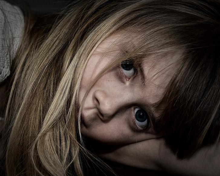 child, girl, face, view, long hair, portrait, close