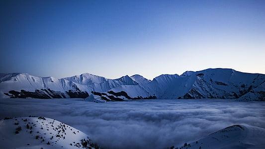 adventure, altitude, clouds, cold, frosty, glacier, high