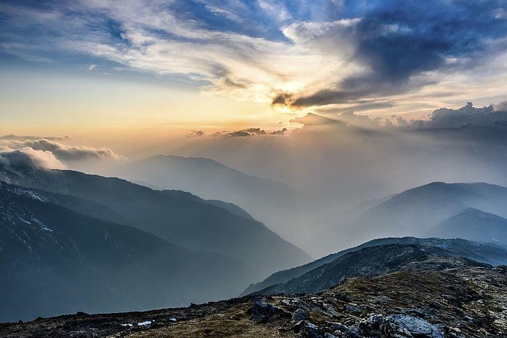 naturen, landskap, Mountain, solnedgång, moln, Sky, antenn