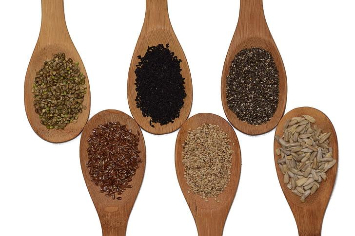 siemenet, auringonkukansiemeniä, Chia, seesami, pellavansiemenet, kannabiksen siemeniä, musta kumina