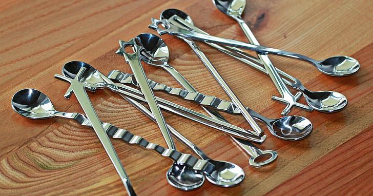 colher, cutelaria, prata, cromado, brilhante, refletir, metal