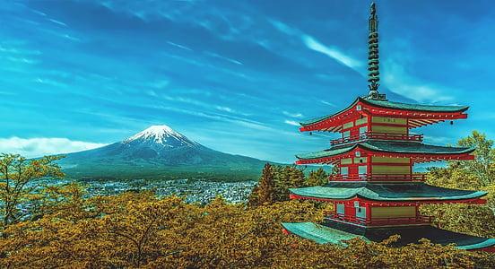 Japão, pagode, Fuji, vulcão, vulcão de Fuji, queda de neve, montanha