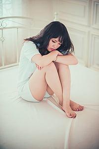 jeune fille, chambre à coucher, triste, femelle, mode, style, modèle