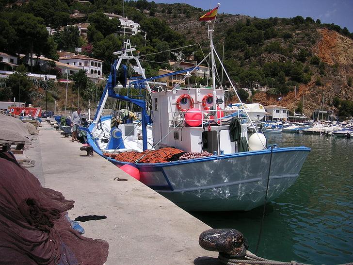 trålare, förtöjda, båt, fiskebåt, docka, spanska båt, fiske