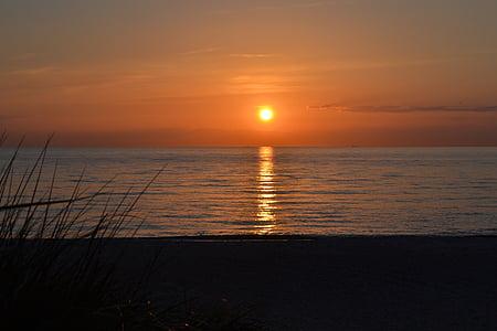 일몰, 바다, 저녁 하늘, abendstimmung, 비치, 발트 해