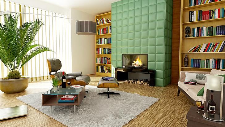 židinys, Apartamentai, kambarys, interjero dizainas, apdaila, dizainas