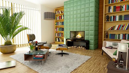 llar de foc, Apartament, sala, disseny d'interiors, decoració, disseny