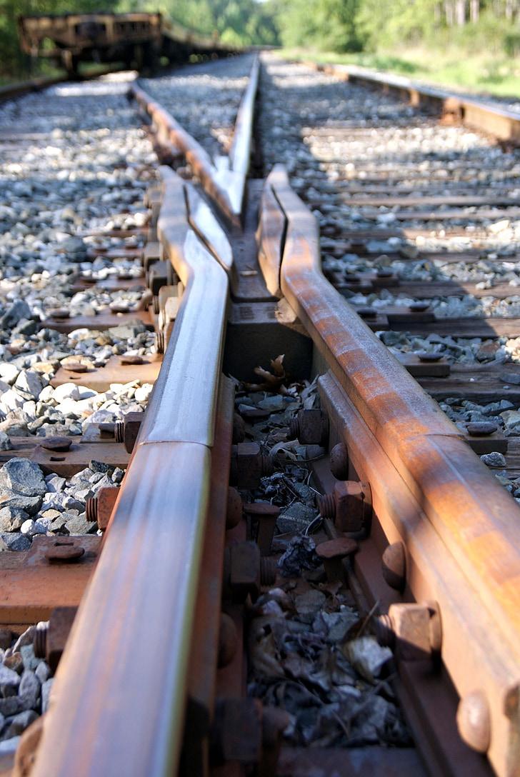 ferrocarril, corbata, tren, òxid, viatge, viatges
