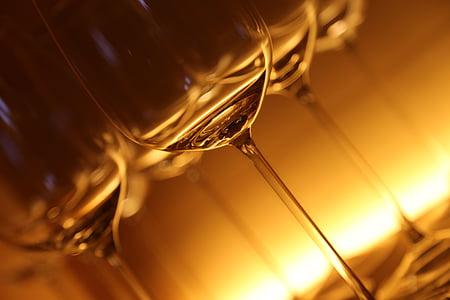 naočale, staklo, piće, lichtspiel, osvijetljeni, čaše za vino, koktel