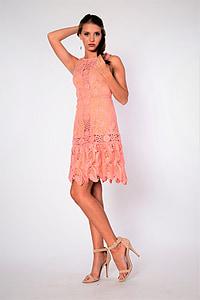 sukienka, na szydełku, różowy