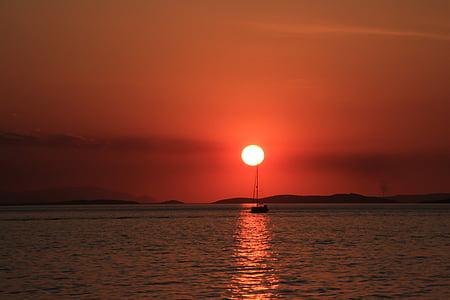matahari terbenam, laut, romantis, langit malam, Pijaran ekor, abendstimmung, sinar matahari