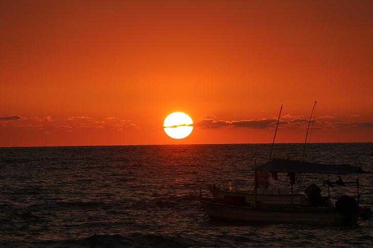 solnedgång, solnedgången båt, Mexico, fiskebåt, stranden, stranden solnedgång