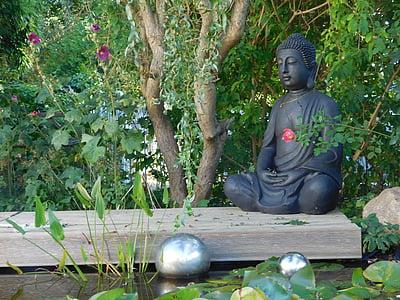 figure de Bouddha, jardin, détente, l'Asie, gartendeko, reste, sculpture