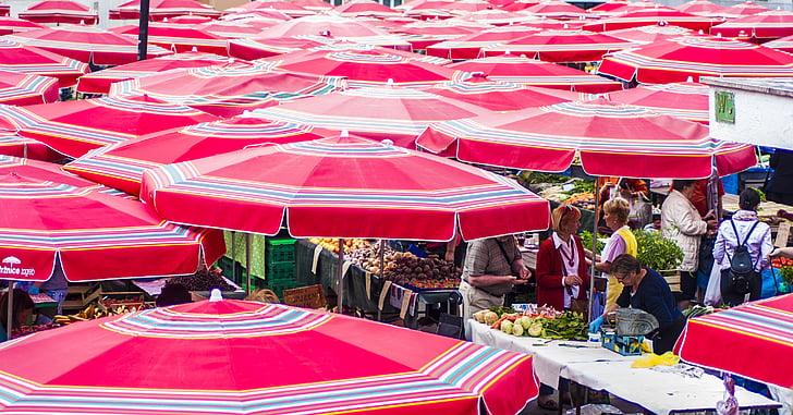 vermell, ciutat, mercat, viatges, urbà, persones, Parasol