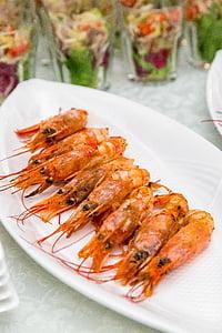 gambes, aliments, aperitiu, banquet, Restaurant, aperitius, placa