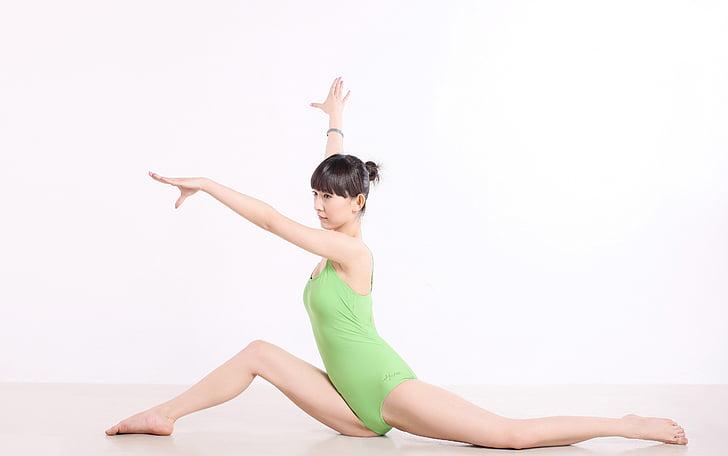 Ķīna, joga, deja, svars, sievietes, poza, sievietes
