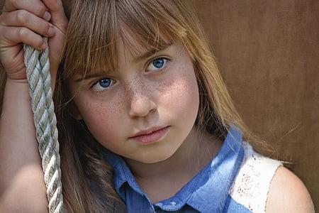 modré oči, dítě, oči, obličej, pihy, Děvče, Kid