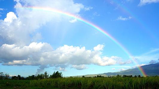 sky, rainbow, clouds, rainbow sky, blue, nature, color