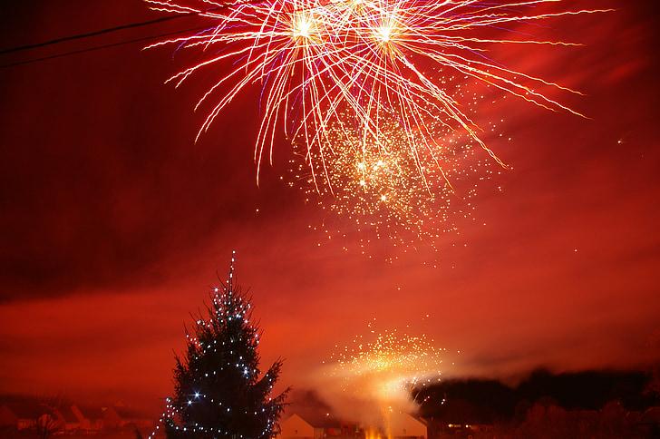 fyrværkeri, nat, Fir, jul, juledekoration, vinter, Festival