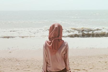лица, ношение, коричневый, Хиджаб, сидя, мне?, берег