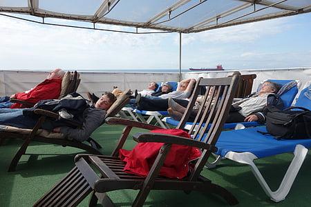 däck, kryssning, solstol, däck, fartyg, sömn, havet