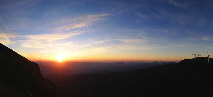platå, soluppgång, Windmill