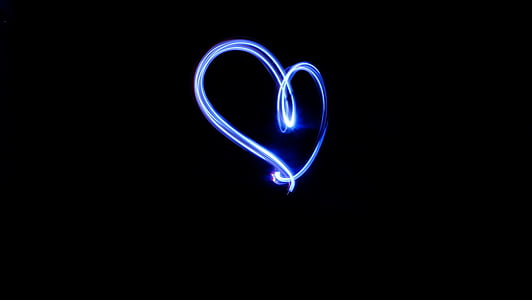 blue heart, dark, heart, heart light, light, black background, blue