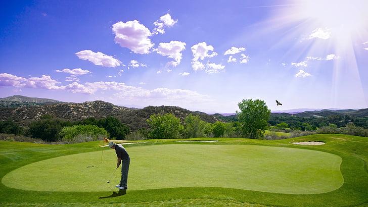 golf, sunset, sport, golfer, bat, outdoor, man