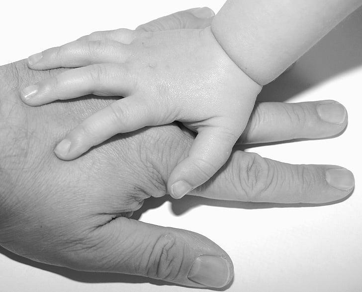käed, lapse, isa, laps, Lapsepõlv, sõrmed, noor